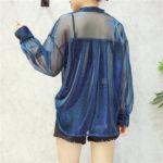 Blue Transparent Bluse