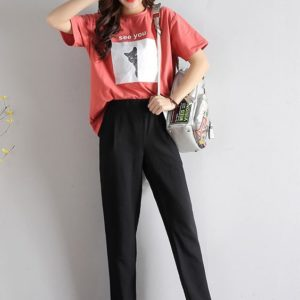 BTS Airport Fashion V Black Pants Female Version