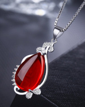 BTS Airport Fashion Outfit V Necklace with red pendant
