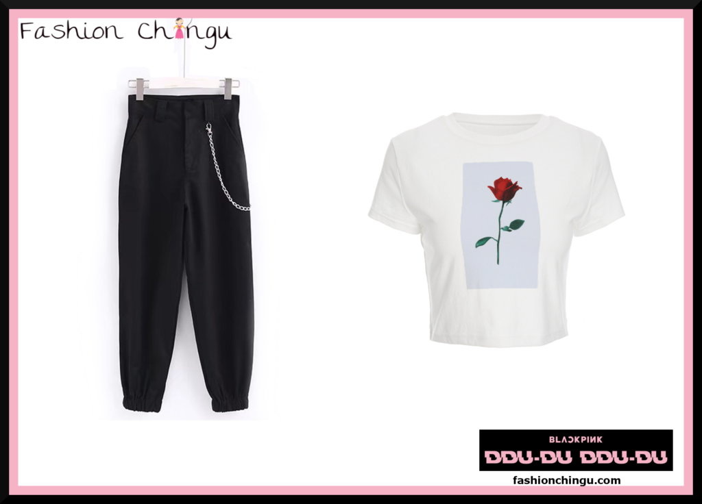 """An Outfit put together inspired by Black Pinks Lisa at the dance practice for """"DDU-DU DDU-DU"""" wearing Black Pants and a white T-Shirt"""
