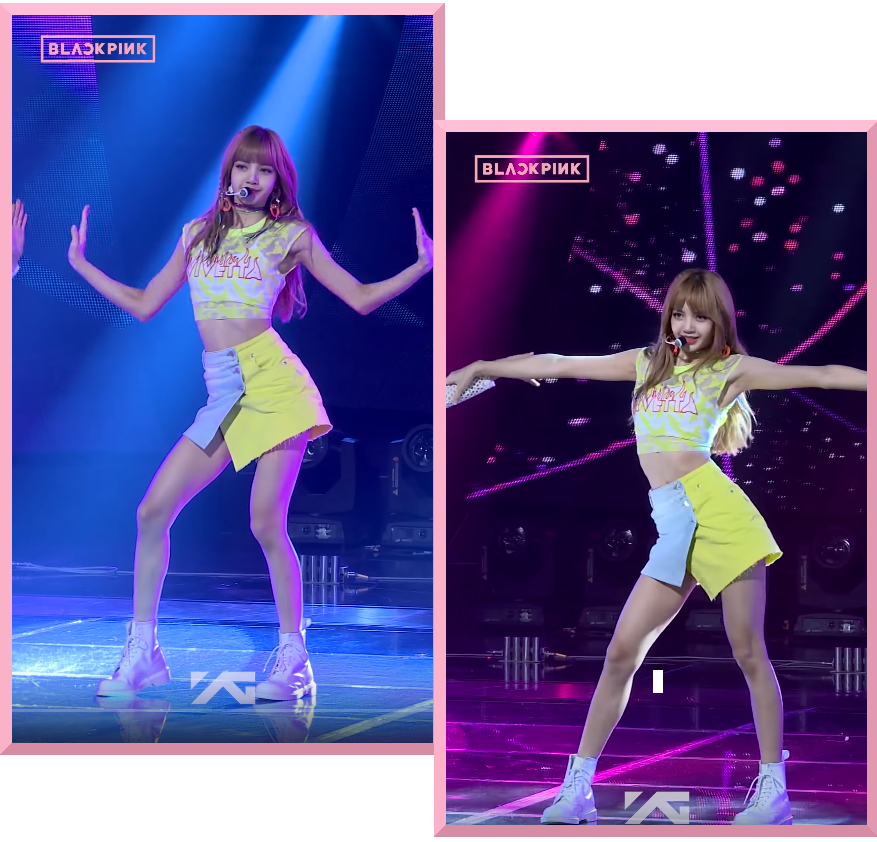 BlackPink Lisa wearing a yellow and blue denim skirt while performing Forever Young