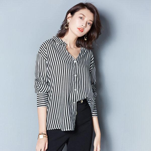 Black Striped Blouse | Chung Ha
