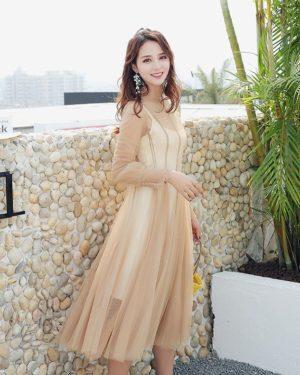 Twice Mina Fashion Apricot Dress
