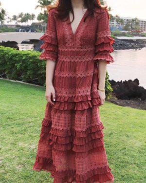 Twice Nayeon Burgundy Dress