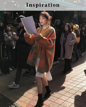 Orange Oversized Cardigan   Lee Sung Kyung