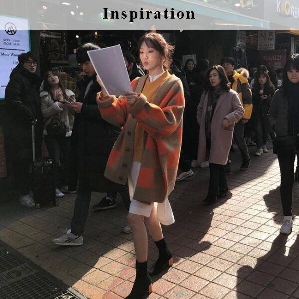 Orange Oversized Cardigan | Lee Sung Kyung