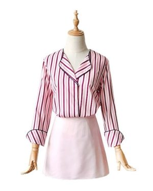 Pink Striped Blouse