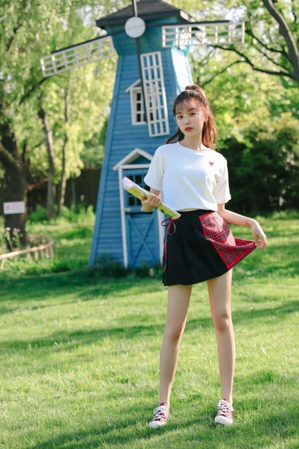 Black Red Checkered Skirt | Hani – EXID