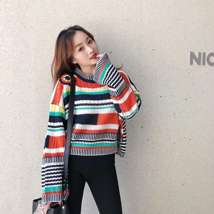 Long Sleeved Colored Pullover Lisa Blackpink K Fashion At