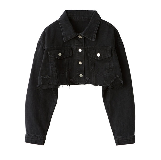 top-rated original fashion styles hot-selling professional Black Cropped Jeans Jacket | Jennie - SOLO