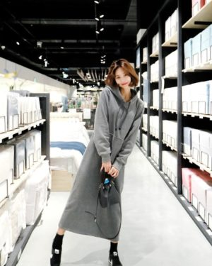 Boyfriend Encounter Clothing Cha Soo Hyun gray Hoodie Dress (11)