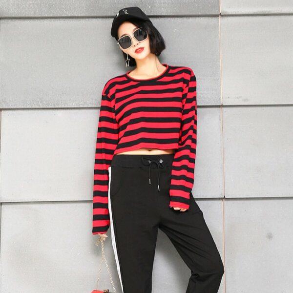 Red Black Striped Shirt | Lisa – BlackPink