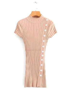 blackpink-rose-beige-button-dress