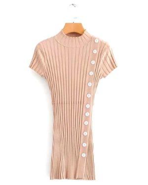 blackpink-rose-beige-button-dress