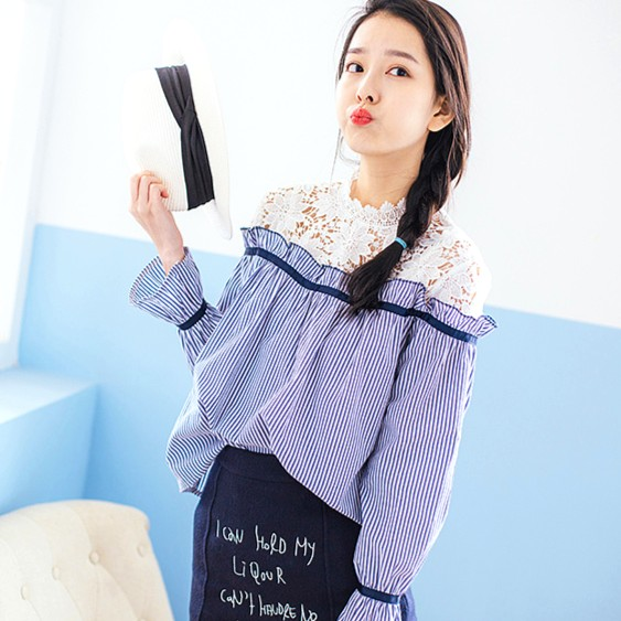 Blue Striped Blouse with Lace | Irene – Red Velvet