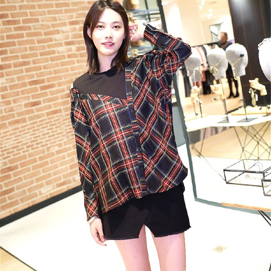 Red  Checkered Shirt Blouse | Irene – Red Velvet