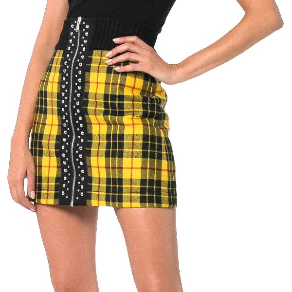 black yellow checkered skirt
