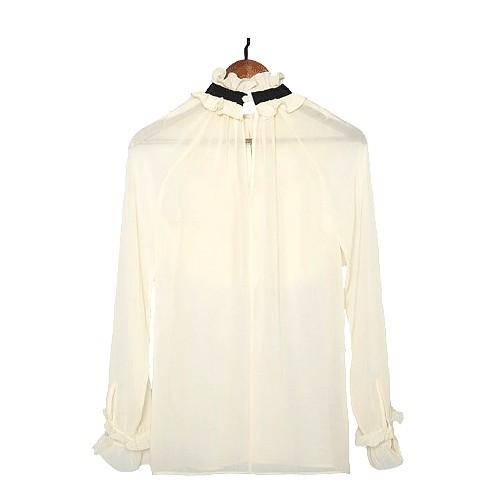 White Elegant Blouse With Lace | Jihyo- Twice