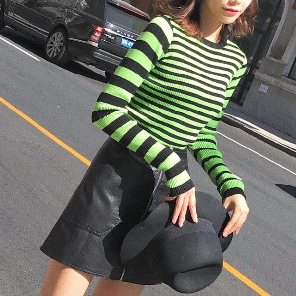 Green Striped Shirt | Momo – Twice
