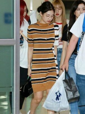 Yellow Striped Bodycon Dress | Jennie – Blackpink