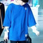 Blue Hoodie with white Sleeves | Suga – BTS