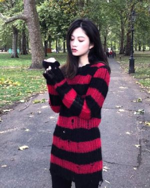 bts-jungkook-ripped-red-black-striped-sweater2