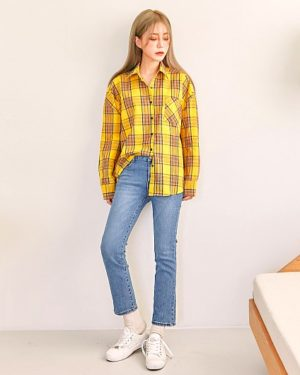 my-id-is-gangnam-beauty-kang-mirae-yellow-checkered-shirt