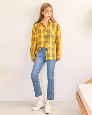 my-id-is-gangnam-beauty-kang-mirae-yellow-checkered-shirt