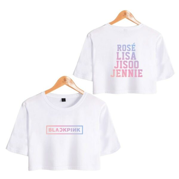 Crop BlackPink T-Shirt With Rainbow Writing