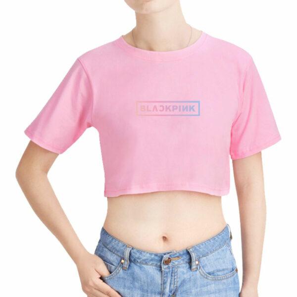 Crop BlackPink T-Shirt With Rainbow Writing