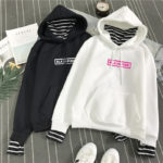 BlackPink Hoodie With Striped Inner Lining