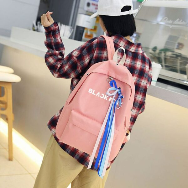 BlackPink Backpack With Blue Bow