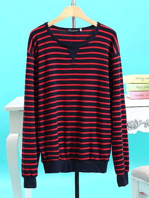 'Peter Pan' Red Black Striped Sweater | EXO