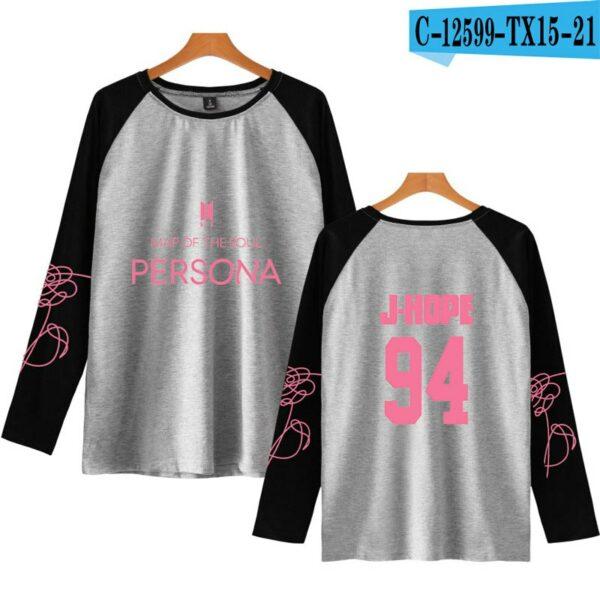 Grey BTS Persona Raglan Shirt