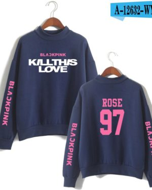 BlackPink Kill This Love Pink Letter Turtleneck Sweater Blue