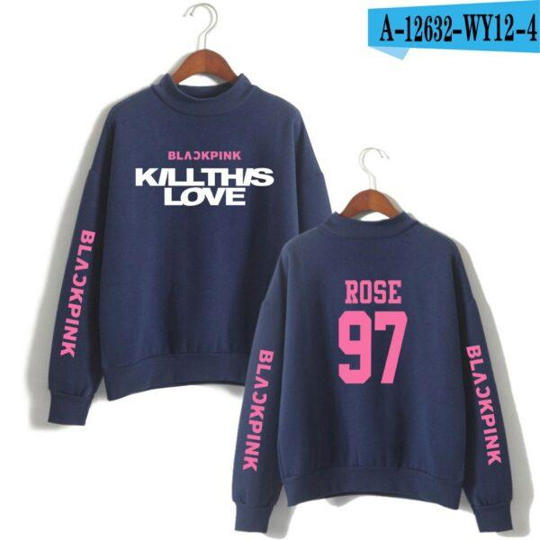BlackPink Kill This Love Pink Letter Turtleneck Sweater Blue