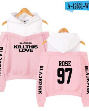 BlackPink Kill This Love Pink Off-Shoulder Hoodie