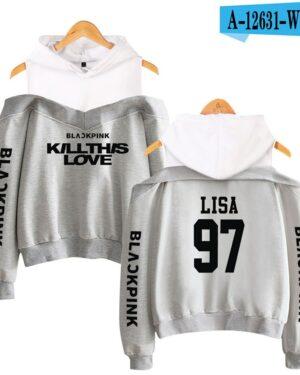 BlackPink Kill This Love Grey Off-Shoulder Hoodie