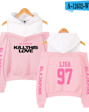 BlackPink Kill This Love Pink Letter Off-Shoulder Hoodie Pink