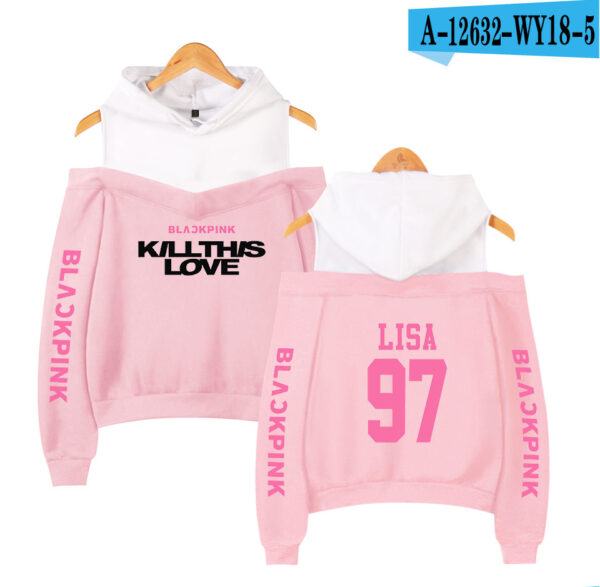 BlackPink Kill This Love Pink Letter Off-Shoulder Hoodie Pink