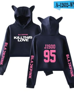 BlackPink Kill This Love Pink Letter Cat Ear Hoodie Blue