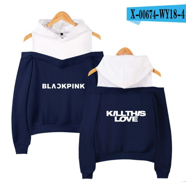 BlackPink Kill This Love Logo Off-Shoulder Hoodie