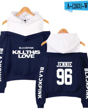 BlackPink Kill This Love Blue Off-Shoulder Hoodie