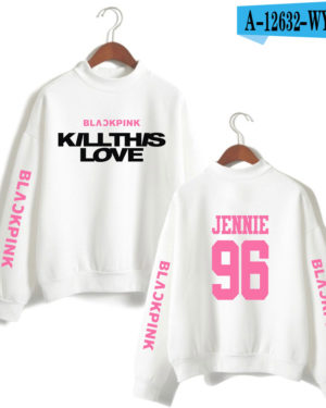 BlackPink Kill This Love Pink Letter Turtleneck Sweater White