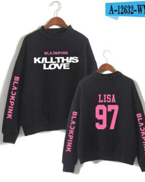 BlackPink Kill This Love Pink Letter Turtleneck Sweater Black