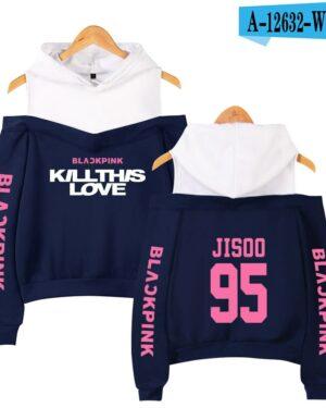 BlackPink Kill This Love Pink Letter Off-Shoulder Hoodie Blue
