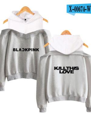 BlackPink Kill This Love Logo Off-Shoulder Hoodie