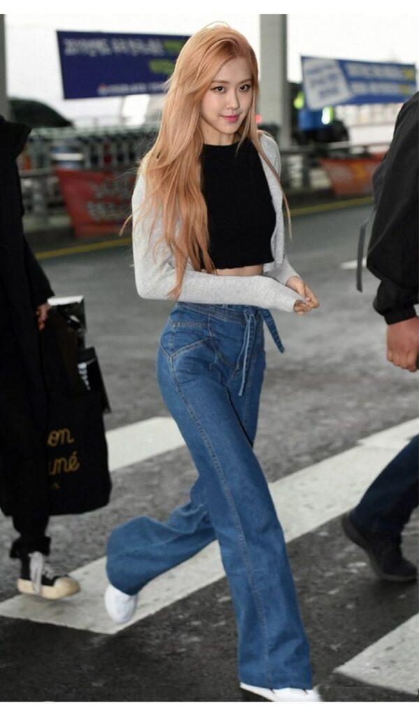 Blue Wide Jeans   Rose – BlackPink