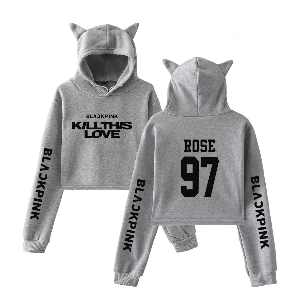BlackPink Kill This Love Grey Cat Ear Hoodie