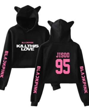 BlackPink Kill This Love Pink Letter Cat Ear Hoodie Black
